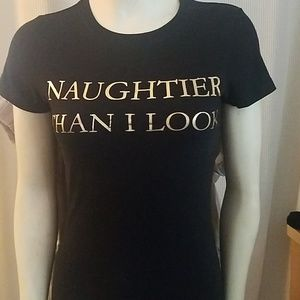 Naughtiest than I look black t shirt
